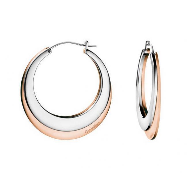 Ruf zuerst großer Lagerverkauf tolle Passform Calvin Klein KJ3DPE200100 dames creolen staal / rose